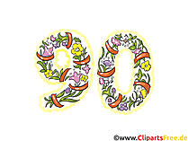 Glückwunschkarte 90 Jahre Jubiläum Clipart, Bild, eCard, Grafik