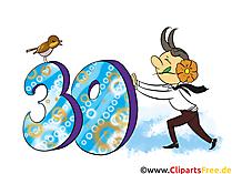 Grüsse zum Geburtstag 30 Jahre - Clipart, Grusskarte, Glückwunschkarte, eCard, Vorlage Einladung