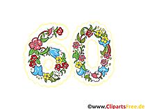 Jubbiläum 60 Jahre Glückwunschkarte, Clipart, Bild, eCard, Grafik