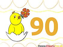 Karte 90 Jahre Geburtstagsgruss, Glückwunsch, Gratulation, Clipart