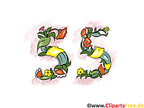 Wünsche zum Geburtstag 55 Jahre - Clipart, Grusskarte, Glückwunschkarte, eCard, Vorlage Einladung