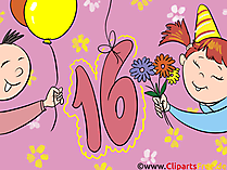 Zum Geburtstag 16 Jahre Glückwunschkarte, eCard, Clipart, Vorlage Geburtstagseinladung