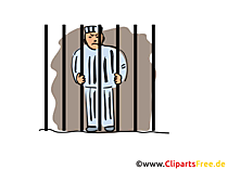 Häftling hinter Gittern Illustration, Bild, Grafik, Clipart