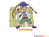 Karneval Kostüm Pirat Bild, Clipart, Illustration