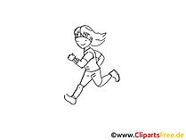 Joggen Zeichnung schwarz-weiss, Bild, Clipart, Comic, Cartoon zum Ausmalen