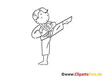 Judo, Kmpfsport Zeichnung schwarz-weiss, Bild, Clipart, Comic gratis