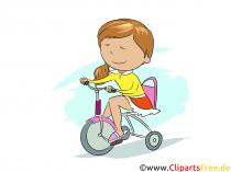 Pige kører på cykel - billeder af den daglige rutine i skolen