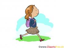 Pige går i skole - billeder af den daglige rutine for skole og daginstitution