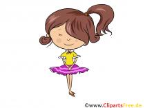 Pige i kjole - Børn Clipart