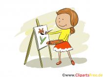 미술 수업에서 소녀 페인트-학교 일상 사진