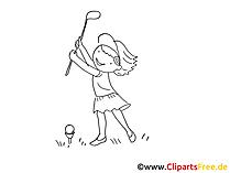 Zeichnung schwarz-weiss Golf spielen