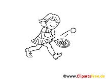 Tennis für Kinder Zeichnung schwarz-weiss, Bild, Clipart, Comic, Cartoon zum Ausmalen