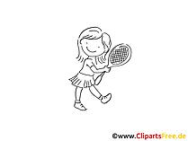 Mädchen mit Tennisschläger Zeichnung schwarz-weiss, Bild, Clipart, Comic, Cartoon