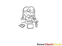 Basteln im Kindergarten Zeichnung, Bild schwarz-weiss, Clipart, Comic, Cartoon kostenlos