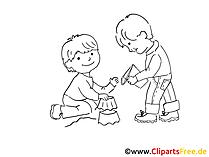 Bauen aus dem Sand Zeichnung, Bild schwarz-weiss, Clipart, Comic, Cartoon kostenlos