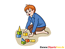 Bausteine spielen, Junge im Kindergarten Bilder, Cliparts, Grafiken
