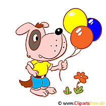 Clip Art Dog with balloons