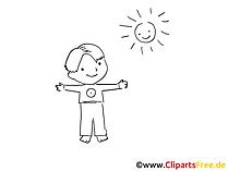 Draussen spielen mit Kindern Zeichnung, Bild schwarz-weiss, Clipart, Comic, Cartoon kostenlos