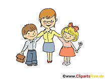 Erzieherin mit Kindern in KiGa Bild, Clipart, Cartoon, Grafik, Comic gratis