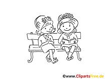 Freundinnen im Park Zeichnung, Bild schwarz-weiss, Clipart, Comic, Cartoon kostenlos