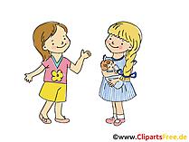 子供同士の会話、クリップアート、漫画、無料グラフィック