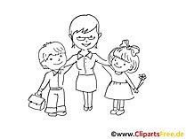 Grundschule Zeichnung, Bild schwarz-weiss, Clipart, Comic, Cartoon kostenlos