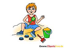 Im Sandkasten spielen Bild, Clipart, Cartoon