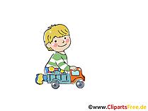 Junge spielt mit Auto Bild, Clipart, Cartoon, Comic gratis