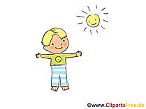 Junge und Sonne Bild, Clipart, Cartoon, Grafik, Comic gratis
