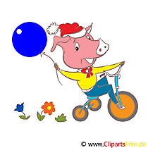 Kids Clipart - Pig on Bicycle