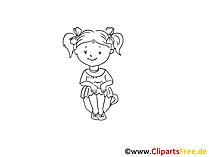 Kind in der Kinderkrippe Zeichnung, Bild schwarz-weiss, Clipart, Comic, Cartoon kostenlos