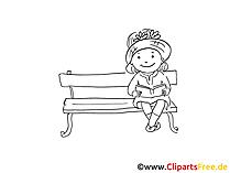 Kind liesst ein Buch im Park Clipart, Grafik, Bild gratis