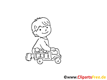 Kind spielt mit Spielzeugauto Zeichnung, Bild schwarz-weiss, Clipart, Comic, Cartoon kostenlos