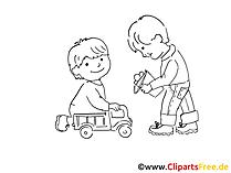 Kinder im Kindergarten Zeichnung, Bild schwarz-weiss, Clipart, Comic, Cartoon kostenlos