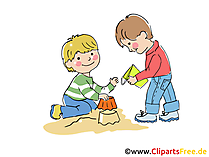 Kinder im Sandkasten Illustration, Clipart, Cartoon