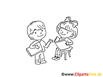 Kinder lernen Lesen - Vorschule Clipart, Bilder, Illustrationen gratis