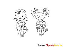 Kinder sitzen auf Toepfchen Zeichnung, Bild schwarz-weiss, Clipart, Comic, Cartoon kostenlos