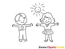 Kinder spielen im Garten Bild schwarz-weiss zum Ausmalen, Clipart kostenlos