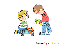 Kinder spielen in Kinderkrippe Bild, Clipart, Grafik, Comic gratis