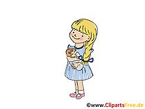 Kleines Mädchen in der Krippe Bild, Clipart, Cartoon, Grafik, Comic gratis