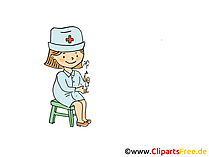 Krankenschwester im Kindergarten Bild, Clipart, Cartoon, Grafik, Comic gratis