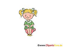 Mädchen im Kindergarten Bild, Clipart, Cartoon, Grafik, Comic gratis