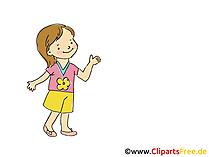 Mädchen in Krippe Zeichnung, Bild schwarz-weiss, Clipart, Comic, Cartoon kostenlos