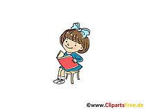 Mädchen liest ein Lernbuch Bild, Clipart, Cartoon, Grafik, Comic gratis