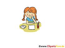 Mädchen macht Hausaufgaben Bild, Clipart, Cartoon, Grafik, Comic gratis