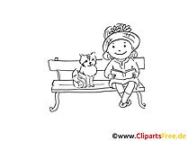 Mädchen und Katze Zeichnung, Bild schwarz-weiss, Clipart, Comic, Cartoon kostenlos