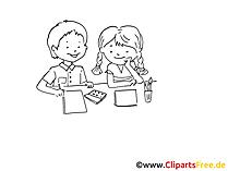 Malen im Kindergarten Zeichnung, Bild schwarz-weiss, Clipart, Comic, Cartoon kostenlos