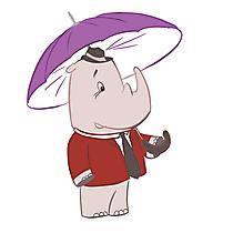 Rhino with umbrella漫画、イメージ、イラスト、クリップアート
