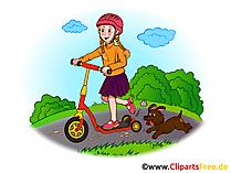 スクーターに乗る、ヘルメットを持つ少女、保育園の画像、クリップアート