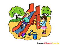 Rutsche auf Spielplatz - Kindergarten Bilder, Cliparts, Illustrationen